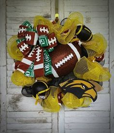 Hey, I found this really awesome Etsy listing at https://www.etsy.com/listing/466465839/usm-golden-eagles-football-wreath