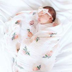 Watercolor Rose Cotton Swaddle #littleunicorn