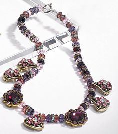 Amethyst and Crystal Rondelle Necklace made with Bliss Beads from @joannstores