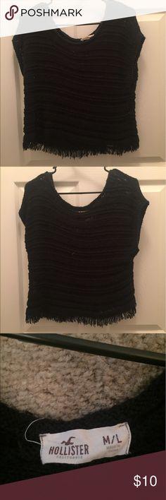 Hollister Black Cropped Sweater Hollister Black Cropped Sweater Hollister Tops Crop Tops