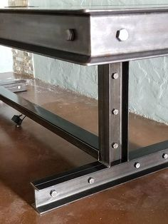 Industrial steel and reclaimed wood confrence table 064