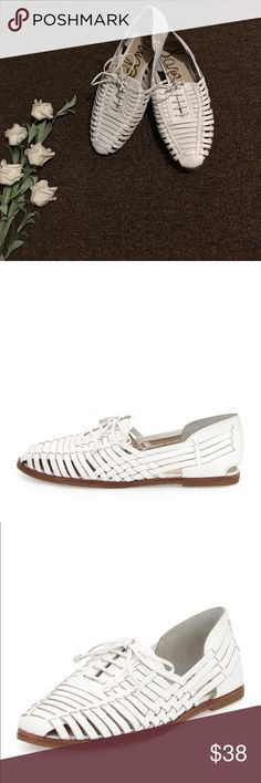 """Sam Edelman Avianna White Leather  Loafers Size 10 New without Box. Size 10 in women. Sam Edelman huarache. Woven leather loafers.  0.5"""" heel. Round toe. Lace-up vamp. Synthetic lining and padded footbed. Rubber sole. Sam Edelman Shoes Flats & Loafers"""