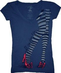 The Wizard of Oz If the Shoe Fits Wicked Witch Navy Juniors/Ladies T-shirt Tee with Rhinestones | Classic Craze
