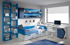 울산•부산인테리어 티디컴퍼니 /study room * 집중력을 높여주는 파란색으로 학생방 인테리어 디자인 : 네이버 블로그 Cool Bedrooms For Boys, Modern Kids Bedroom, Kids Bedroom Furniture, Awesome Bedrooms, Teen Bedrooms, Bedroom Setup, Room Design Bedroom, Home Room Design, Kids Room Design