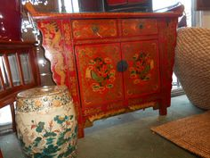 Hand-painted Cabinet with 2 Drawers and 2 doors hiding a shelf.  Altar-style top. Gorgeous workmanship.