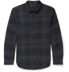 Theory slim-fit cotton checked shirt #menswear