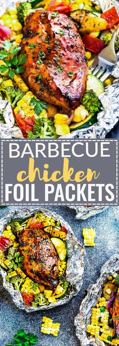 This recipe for Barbecue Chicken Foil Packets (Packs) are the perfect easy meal for summer. Best of all, they can be baked or grilled with practically no clean-up! Made with tender chicken, coated in a sweet and tangy BBQ sauce with your favorite, summer Tin Foil Dinners, Foil Pack Meals, Hobo Dinners, Grilling Recipes, Lunch Recipes, Cooking Recipes, Dessert Recipes, Chicken Foil Packets, Barbecue Chicken