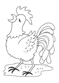 Dessin d'un coq qui fait son chant du matin, à colorier