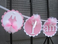 Ballerina Princess tutu I am 1 Banner...Happy Birthday Banner...High Chair Banner...Photo Prop on Etsy, $16.85 CAD