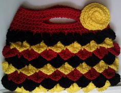 Crocodile Clutch - Handmade Crochet Purse - Rose Appliqué -Yellow, Black & Red - Ready to Ship and Made to Order on Etsy, $45.00