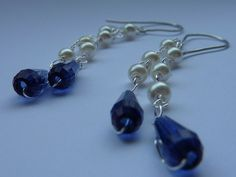 Earrings: long double dangles with ivory pearl by violetsparks