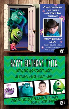 Birthday Party Invitation Card Monsters Inc by CelebrationCity, $10.00
