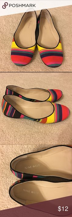 Nine West Striped Multicolor Flats Multicolor striped women's ballet flats, in good condition. There are a few minor scuffs, only noticeable upon close inspection (pictures show them). Nine West Shoes Flats & Loafers