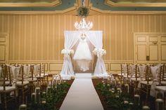 Saint Paul Hotel Wedding Ceremony. #chuppa #chandliers #weddingceremony