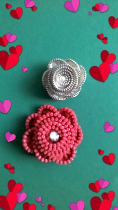 Zipper Crafts, Repurposing, Zippers, Upcycle, Cycling, Stud Earrings, Beads, Jewelry, Paper Flowers