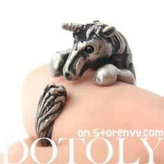 Unicorn Detailed Animal Wrap Around Ring: Silver Size 5 - 9