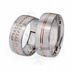 Anillos de boda 10K dos tono diamante vendas de por TallieJewelry