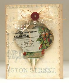 For old cards and calendars - punch out a pretty shape and use ribbon, pearls or buttons to embellish it - spellbinders ornament die