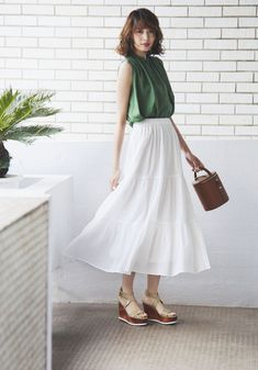 Our lightweight cotton skirt with a comfortable elastic waist.- Features an elegant, tiered design. Cool Summer Outfits, Spring Outfits, Matilda, Tiered Skirts, Mini Skirts, Orange Skirt, Long Skirts For Women, Maxi Gowns, Beautiful Asian Girls