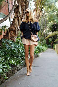 fashion-jackson-mlm-label-maison-off-the-shoulder-top-schutz-lace-up-gladiator-sandals-chloe-drew-colorblock-handbag