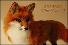 Needle felted fox, fox sculpture, soft doll, animal figurine, red fox decor, woodland animal foxy needle felting long hair fox