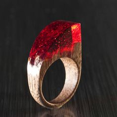 Wooden Ring With Resin on Top Resin Jewelry Unique Gift for