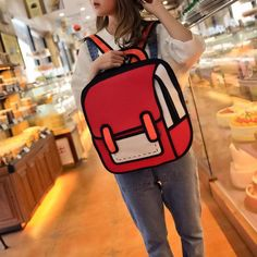 Fashion Drawing Women Backpack New High Quality Cute Cartoon Canvas School Bags For Girls Traval Rucksack Mochila Mujer Backpack Brands, Leather Backpack, Leather Bag, Leather Fashion, Cartoon Bag, School Bags For Girls, Kawaii Clothes, Nylon Bag, Backpacks