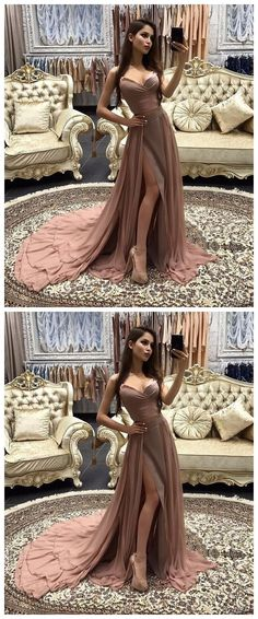 Sexy Prom Dress,Two Piece Prom Gown,Long Prom Dress,High Slit Formal Dress,A Line Prom Dresses,Prom Dress With Split #hiprom