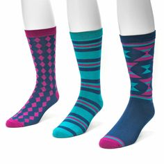 MUK LUKS' is back with our Men's 3 Pair Crew Sock Packs and the colors and patterns are better than ever. These socks will form perfectly to your feet and the soft material is made of 70% Rayon, 27% N