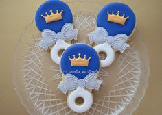 Baby Shower Cookies 12 Baby Prince Rattle by NYCookiesByVictoria