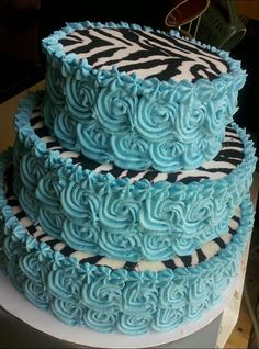 Blue Swirl Zebra Cake - the colored edges would be neat