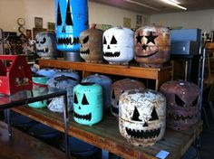 Empty Propane / Refrigerant Cylinder Jack-o-Lanterns or make different patterns/shapes for year round lighting.