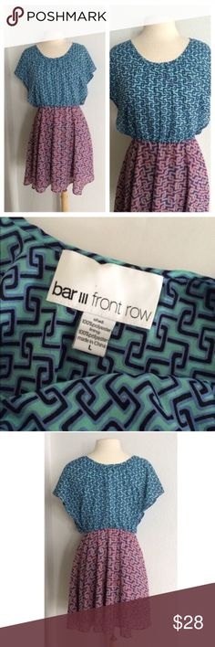 """Bar III dress Bar III dress. Size L. 100% polyester. Measures 35"""" long with a 37"""" bust. The waistband is elastic and very stretchy, but the rest of the dress doesn't have too much stretch. Flowy bottom half. EUC!                                                                   🚫NO TRADES🚫 💲Reasonable offers accepted💲 💰Ask about bundle discounts💰 Bar III Dresses"""