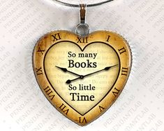 So Many Books So Little Time pendant Book by ThePendantArtDesign