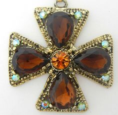 Gorgeous Topaz Rhinestones Maltese Cross Necklace