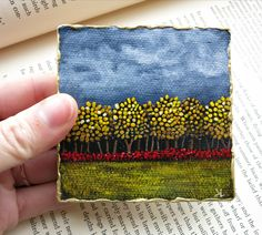 Miniature Fall Leaves Landscape Painting