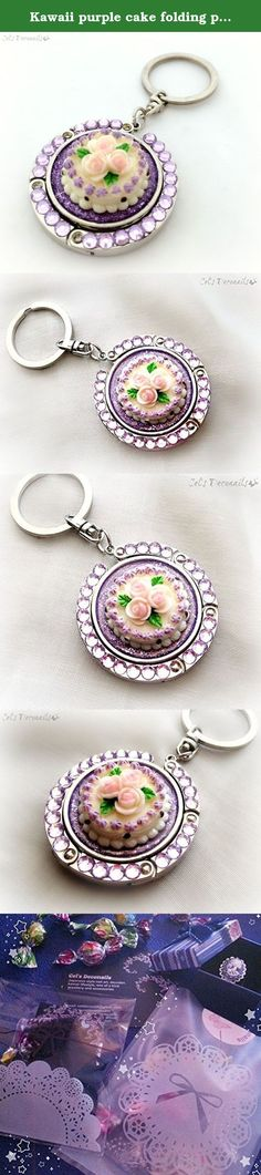 Kawaii purple cake folding purse hook, keychain, bag charm. A lovely white and purple cake with pink roses on top, surrounded by light amethyst Swarovski crystals. This handy purse hook also has a keychaon attached so you can put your keys or just hang it from your bag as a bag charm. A super cute one of a kind accessory. Comes packed in a cute organza pouch, ready for gift giving. All items ship carefully packaged in bubble wrap envelopes by registered mail. Tracking number and proof of...