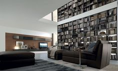 Amazing floor-to-ceiling library unit extends all the way up into the second level