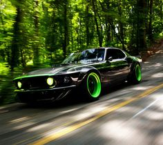Ford Mustang with lime green accents/rims. Love the green idea. We would have to do red or black on MD's Mustang.