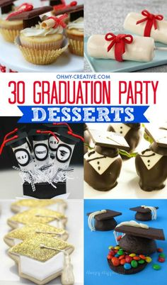 Create a spectacular graduation party dessert table by adding a few of these 30 Graduation Party Dessert Ideas   |  OHMY-CREATIVE.COM #recipe