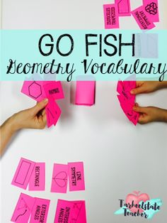 """Mastering Geometry Vocabulary: """"Go Fish"""" game-Geometry Vocabulary cards study strategy and games provide students with multiple exposures to geometry terms-includes ideas for creative and fun ways to play with these cards and increase vocabulary mastery! partners, independent, math stations, cooperative learning--so much fun to be had!"""