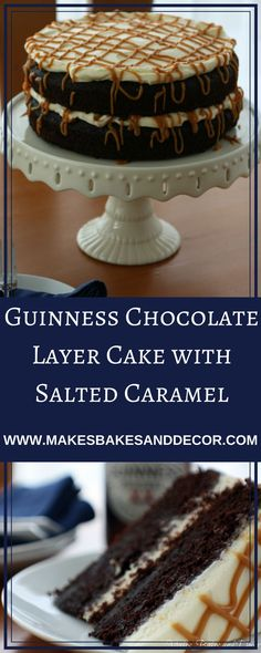 A recipe for guinness chocolate cake from Makes, Bakes and Decor. a moist and fudgy cake layered with salted caramel and cream cheese frosting