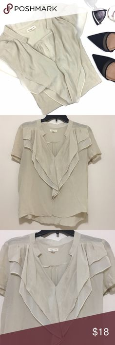 Silence + Noise Sandstone Silk Ruffle Neck Blouse Gorgeous blouse with a ruffle detail on front. 100% silk. Urban Outfitters Tops Blouses