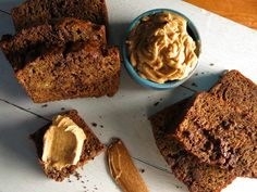 Espresso-Chocolate Chip Banana Bread with Espresso-Cinnamon Butter recipe from Bobby Flay via Food Network