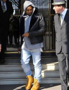 #Kanye West wears #Louis Wong for #A.P.C Motorcycle Leather Jacket in Paris