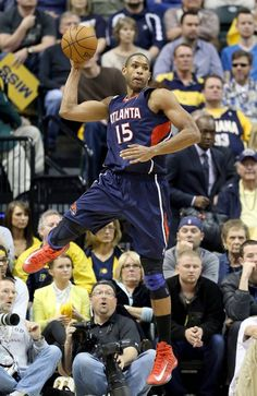 Al Horford grabs a rebound against the Indiana Pacers during Game One of the Eastern Conference Quarterfinals of the 2013 NBA Playoffs
