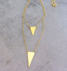 Statement triangle gold brass double pendant necklace, layered necklace, strand necklace, layering necklace