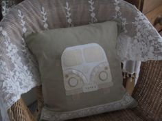 A rustic handmade cushion cover hand appliqued by HandmadeinPompey, £22.00