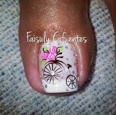 23 that will make you bright summer nails designs glitter fun 020 Pedicure Nail Art, Toe Nail Art, Pretty Toe Nails, Cute Nails, Bright Summer Nails, Vintage Nails, Nails Only, Toe Nail Designs, Flower Nails