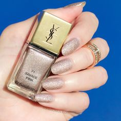 YSL Savage Pink swatches, review || Rose Gold nail polish for summer